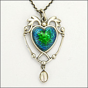 Arts & Crafts 1908 Sterling Silver Enamel Heart Pendant and Chain- Hallmarked