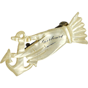 French Victorian Mother of Pearl Hand and Anchor Souvenir Pin