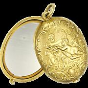 German Renaissance Revival Gold Plated Mirror Slide Pendant -GEBRUDER GLASER