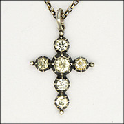 French Antique Silver and Pastes Cross with Belcher Chain Necklace