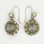 Victorian Silver 'Melon' Earrings with Engraved Stars - Pierced Ears