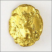 French Art Nouveau Gold Plated Lady Pin