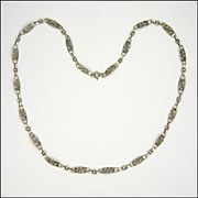 "French Antique Decorative Silver Necklace - 20½"" - 11.1 grams"