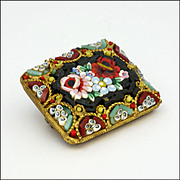 Antique Italian Micro-Mosaic Cushion Pin