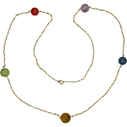SALE Art Deco Gemstone Bead Necklace with Faux Pearls - 29½""