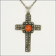 Art Deco 935 Silver Marcasite and Coral Cross and Chain