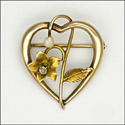 Art Nouveau 15K Gold Diamond and Pearl Heart Pin