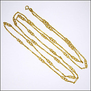 """SALE PENDING French Circa 1900- 1910 Double 18K Gold Plated Guard Chain -55"""""""