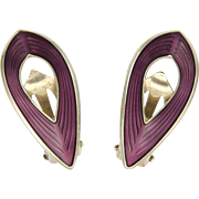 Silver Enamel Earrings O F HJORTDAHL- Norway