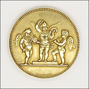 French 1897 Gold Washed Silver Cherub Orchestra Medal - J LAGRANGE