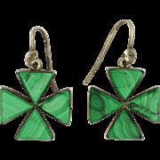 Victorian Malachite on Sterling Silver Cross Earrings - Pierced Ears
