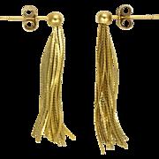 9k Gold Tassel Earrings - Pierced Ears