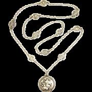 French Silver Art Nouveau Pill Box Locket on Decorative Chain