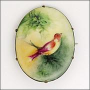 Antique Painted Bird on Branch Ceramic Pin