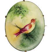 Antique Painted Bird on Branch Ceramic Pin