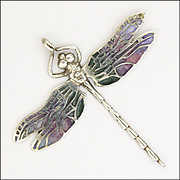 NORMAN GRANT Scottish Silver Enamel Dragonfly Pendant 1969