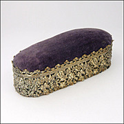 SOLD Victorian Decorative Pierced Brass and Velvet Pin Cushion