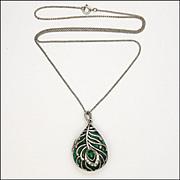 Peacock's Eye Silver Tone Metal Enamel and Paste Locket Necklace