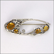 English Sterling Silver and Citrine Leaf Pin - unsigned BERNARD INSTONE