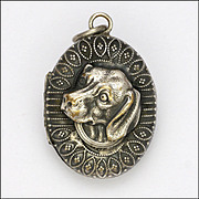 SALE PENDING French Victorian Silver Plated Dog Locket