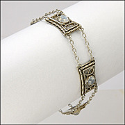 English Arts and Crafts Silver and Moonstone Bracelet