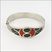 Scottish Victorian Sterling Silver Agate Hinged Bangle