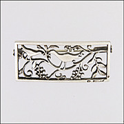 French Art Deco Silver Birds & Grapes Pin - H TEGUY