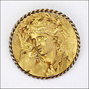 SALE PENDING French Art Nouveau Gold Filled Orpheus Brooch/Pin - L Coudray