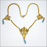 SALE French Heavily Gold Plated Glass Drop Necklace