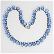 SALE French Art Deco Silver Metal 'Paper Clip' & Pastes Necklace