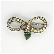 French Antique Silver Paste & Tourmaline Snake Pin