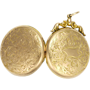English Edwardian 9K Back and Front Engraved Locket