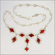 Silver Filigree & Carnelian Agate Drop Necklace