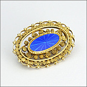 MARIUS HAMMER Norway Gold Washed Silver Enamel Lace Pin