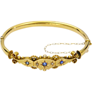 Victorian 9K Gold Diamonds & Sapphire Pastes Hinged Bangle