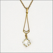 English 9k Circa 1900 Rose Gold Chain with Deco Pendant