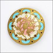 French Circa 1880-1890 Chrysanthemum Enamel Button