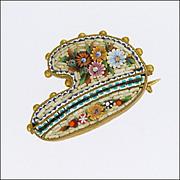 Victorian Italian Micro-Mosaic Artist's Palette Pin