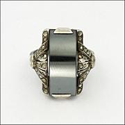 French Art Deco Silver Hematite Marcasite Ring