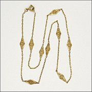 French Gold Filled Filigree Necklace