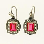 Art Deco Sterling Silver Marcasite Enamel Paste Pierced Earrings
