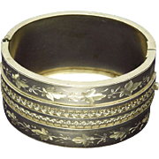 Victorian Sterling Silver Engraved Ivy Bangle