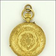Swiss Antique Circa 1900 18K Gold Pocket Watch Pendant