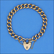 Victorian 9 Carat 'Night & Day' Curb Bracelet - Heart Padlock Clasp
