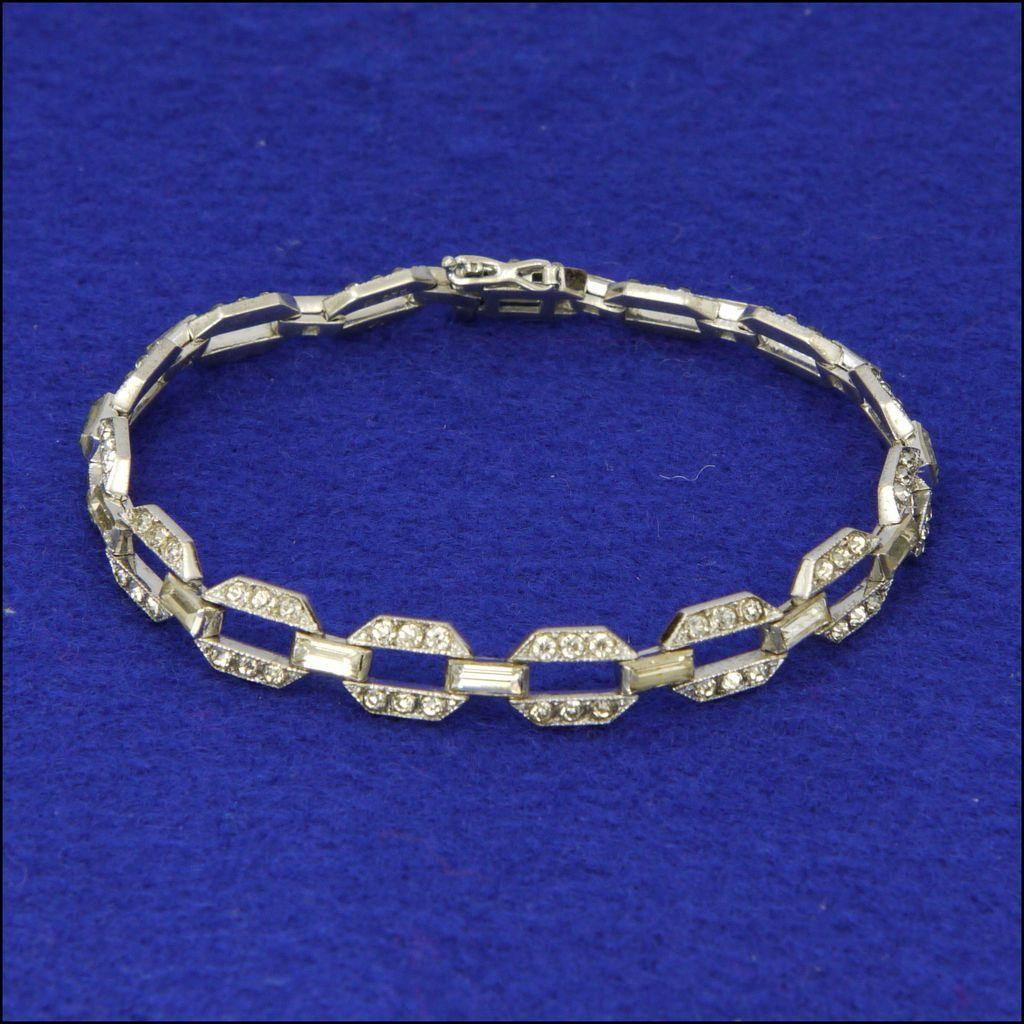 Art Deco 935 Quality Silver & Pastes Cocktail Bracelet