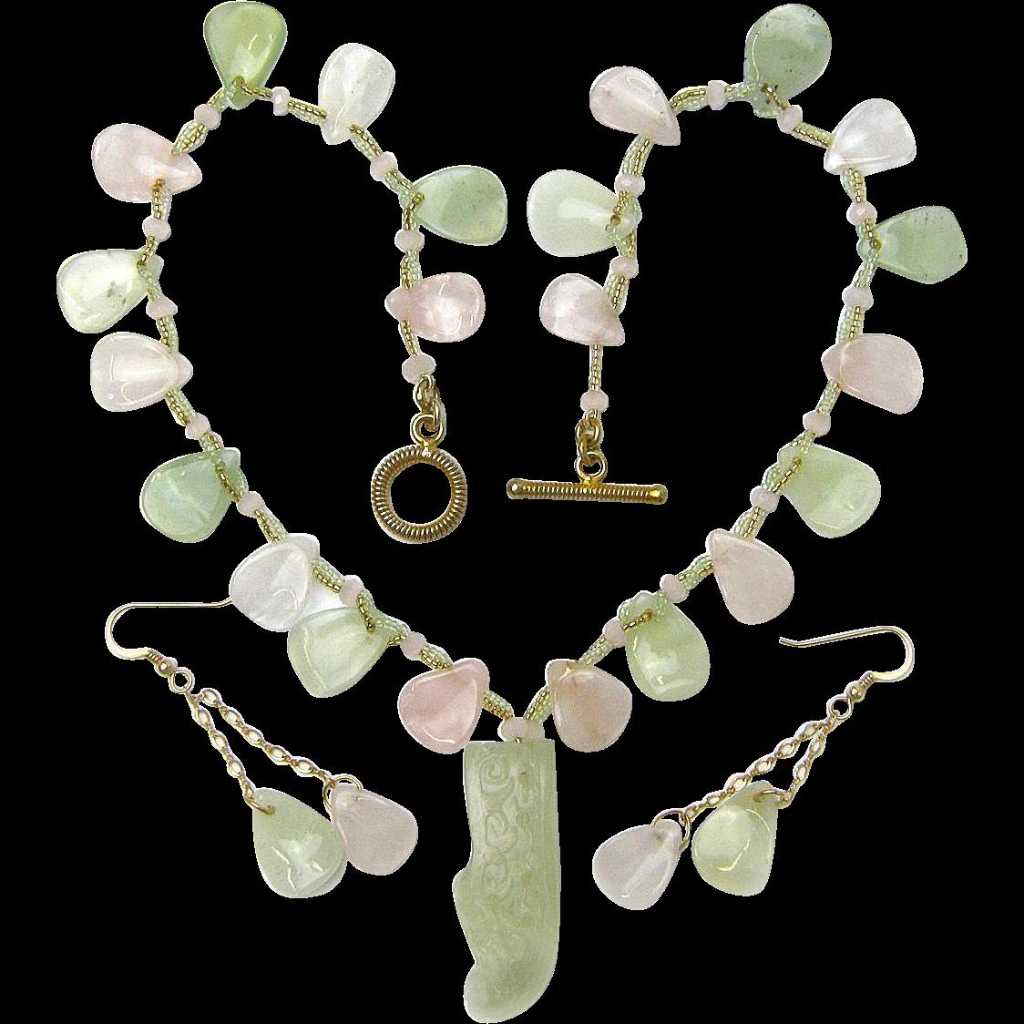 Rose Quartz & New Jade Necklace  w/ Carved Shoe Pendant