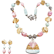 SALE Extravagant Pink Opal, Picture Jasper & Amazonite Necklace w/ Earrings