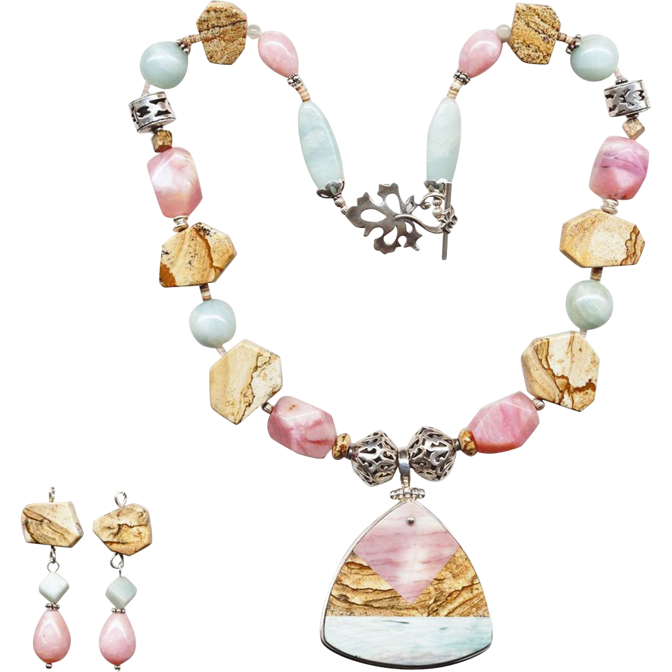 Extravagant Pink Opal, Picture Jasper & Amazonite Necklace w/ Earrings
