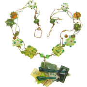 Multistrand Lampwork Necklace with Architectural Fused Glass Pendant