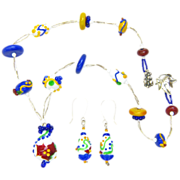 Charming Lampwork Necklace and Earrings in the Colors of Provence